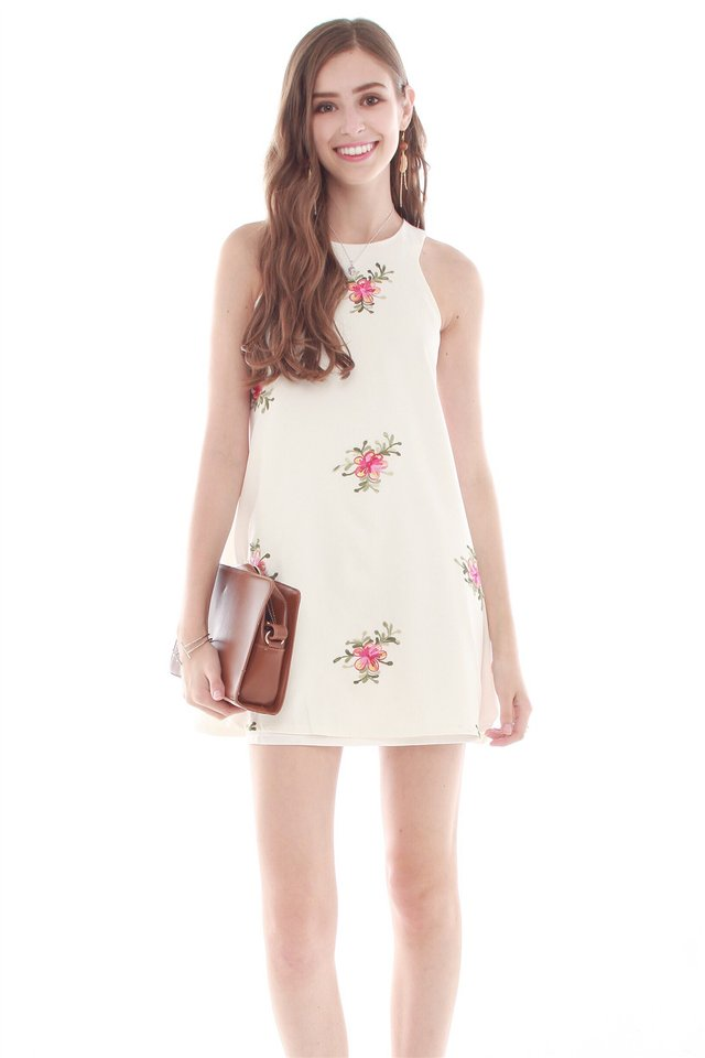 Stitched Floral Trapeze Dress in White