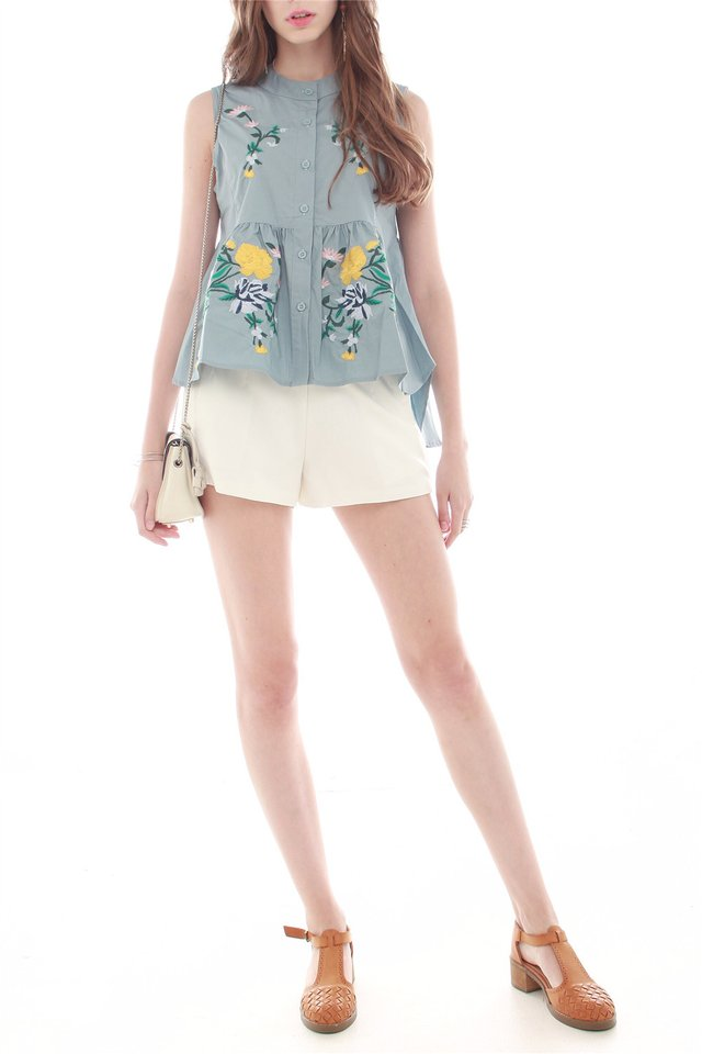 *BACK IN STOCK* Embroidery Garden Babydoll Top in Blue