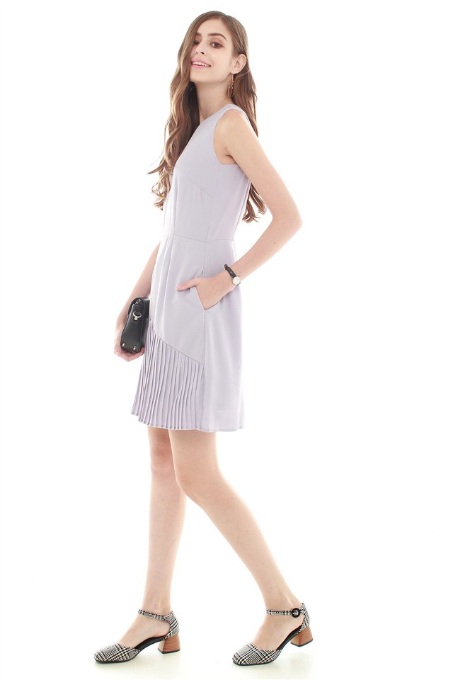 Inverted Pleats Work Dress in Dusty Grey