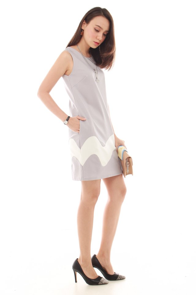*BACK IN STOCK* Wave Panel Shift Dress in Dusty Grey