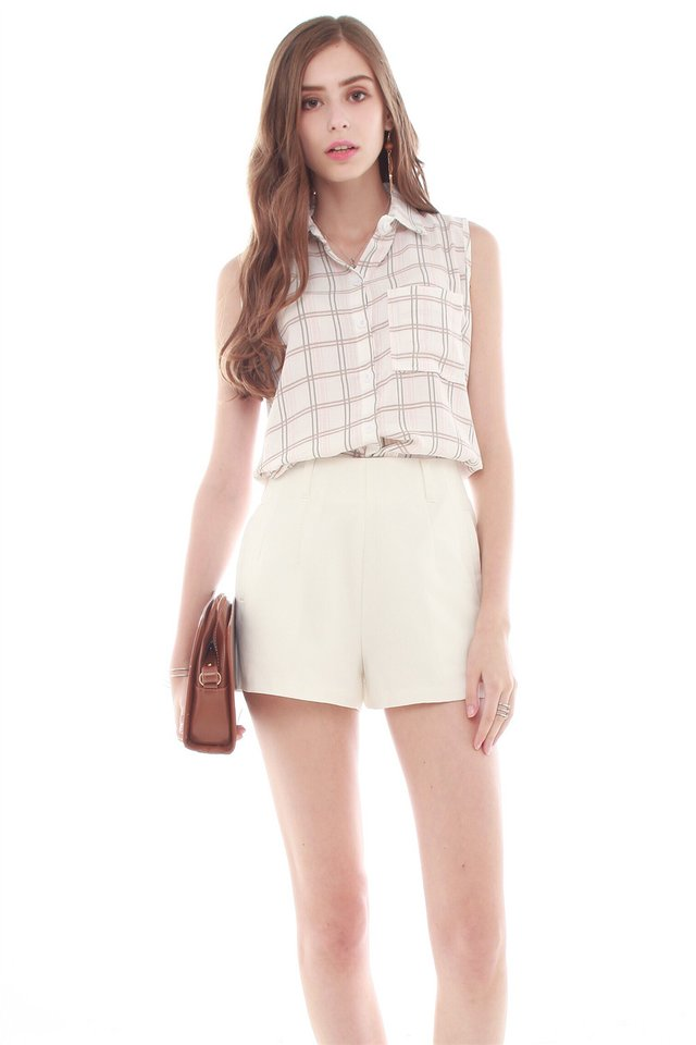 Button Down Checkered Top in Blush