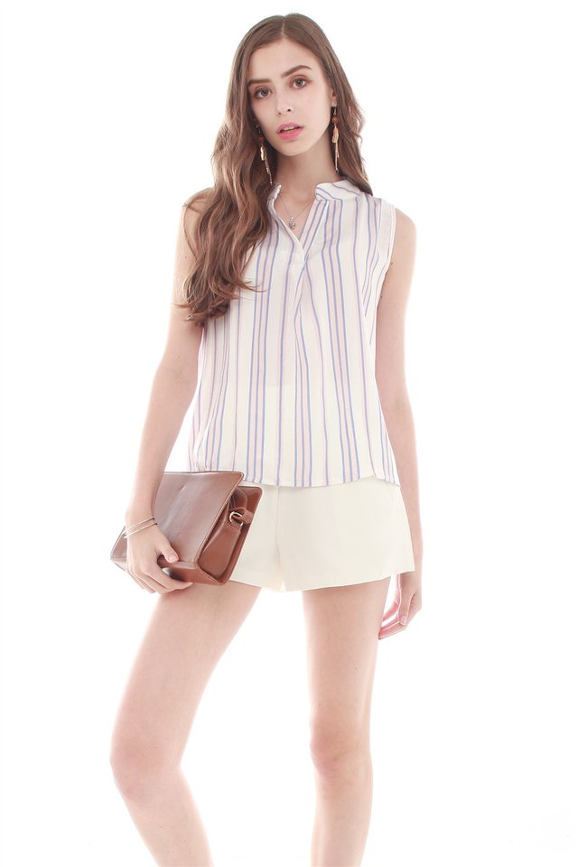 Striped Sleeveless Mandarin Collared Top in Blush