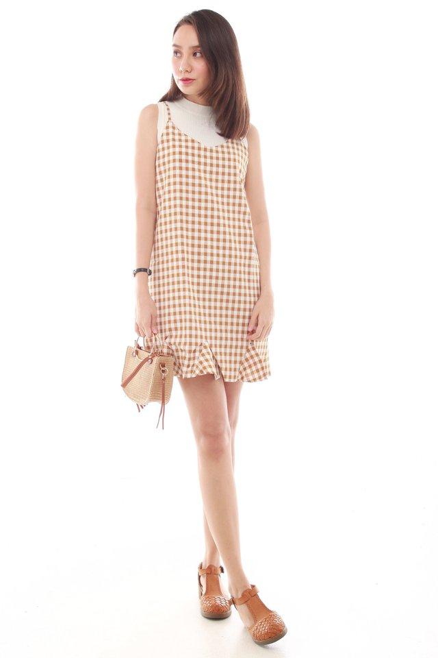 Gingham Flutter Slip Dress in Orange