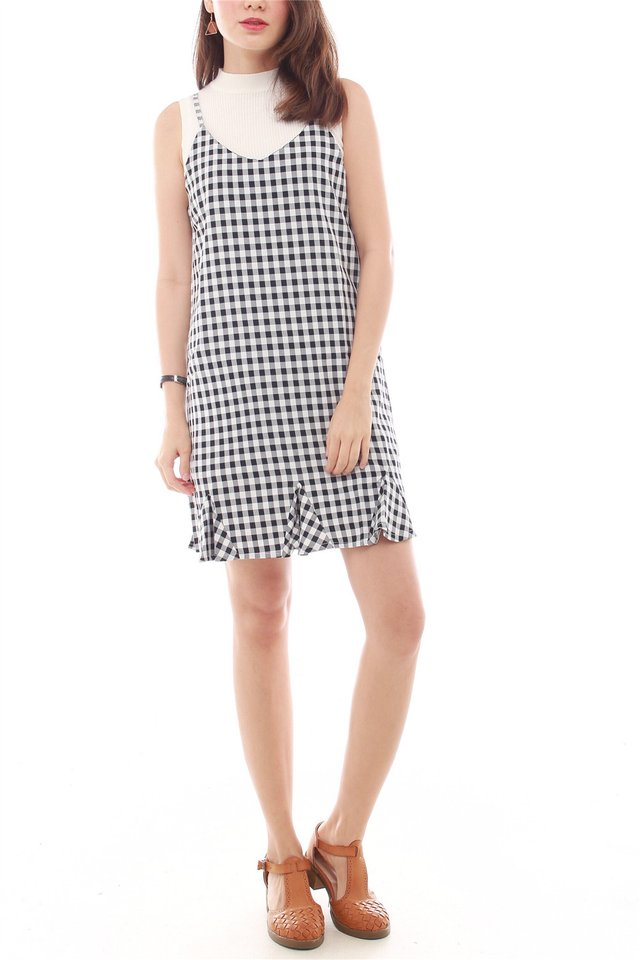 Gingham Flutter Slip Dress in Black