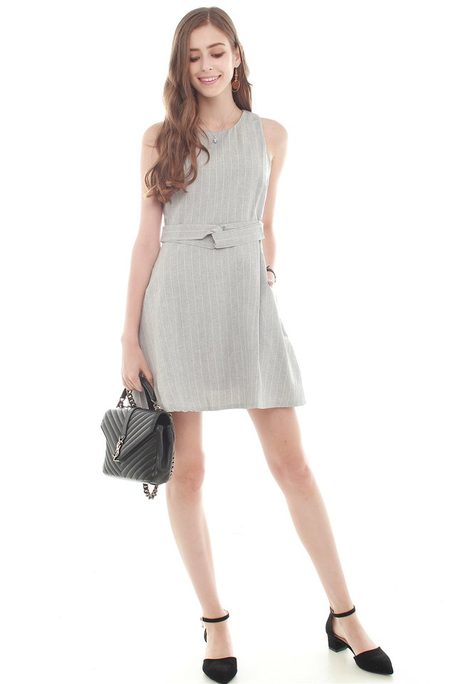 Pinstripes Circle Swing Dress in Grey