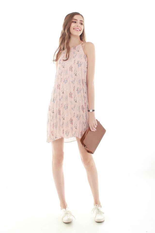 *BACK IN STOCK* Pleaty Pastel Floral Trapeze Dress in Dusty Pink