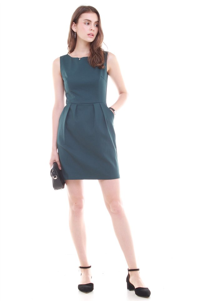 *BACK IN STOCK* Tulip Pocket Work Dress in Emerald