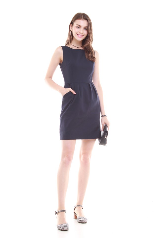 *BACK IN STOCK* Tulip Pocket Work Dress in Navy