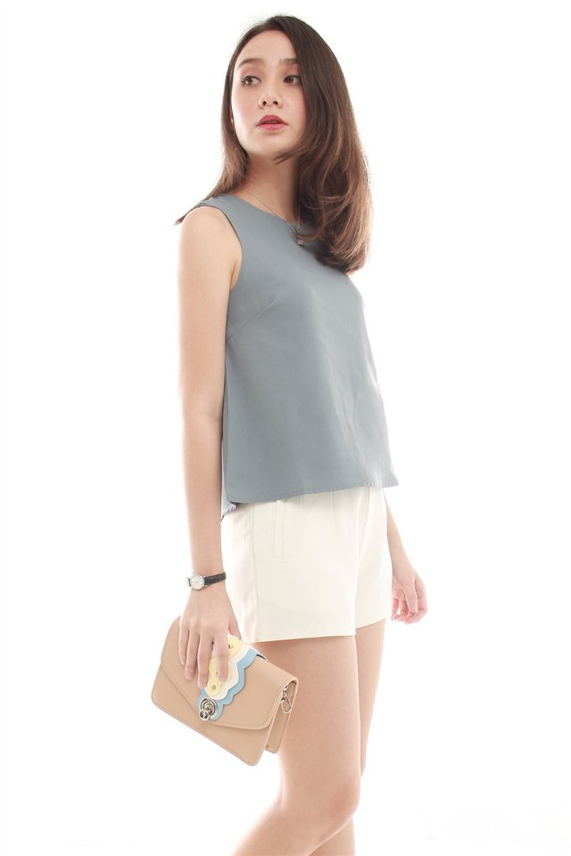 *Backorder*  ACW Pleated Shell Top in Ash Blue
