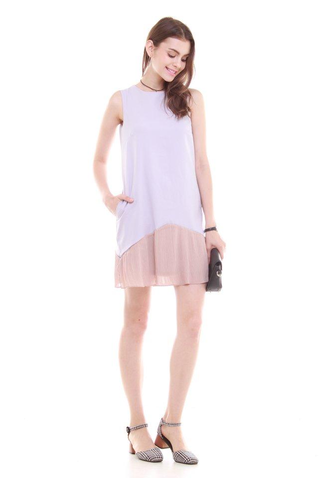 Colourblock Pleated Pocket Trapeze Dress in Dusty Grey