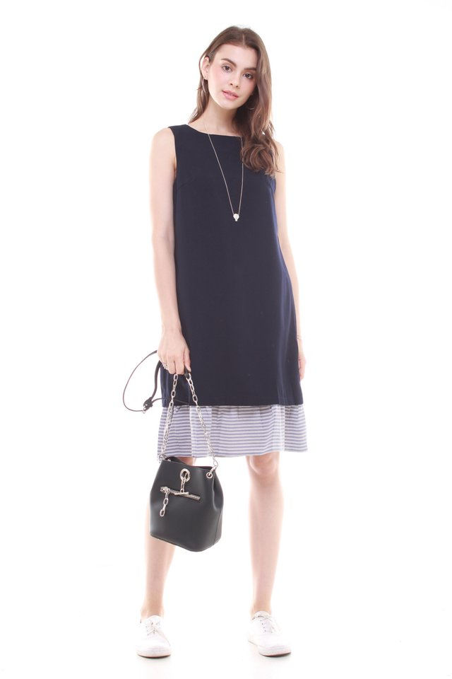 Two Way Detachable Flutter Midi Dress in Navy