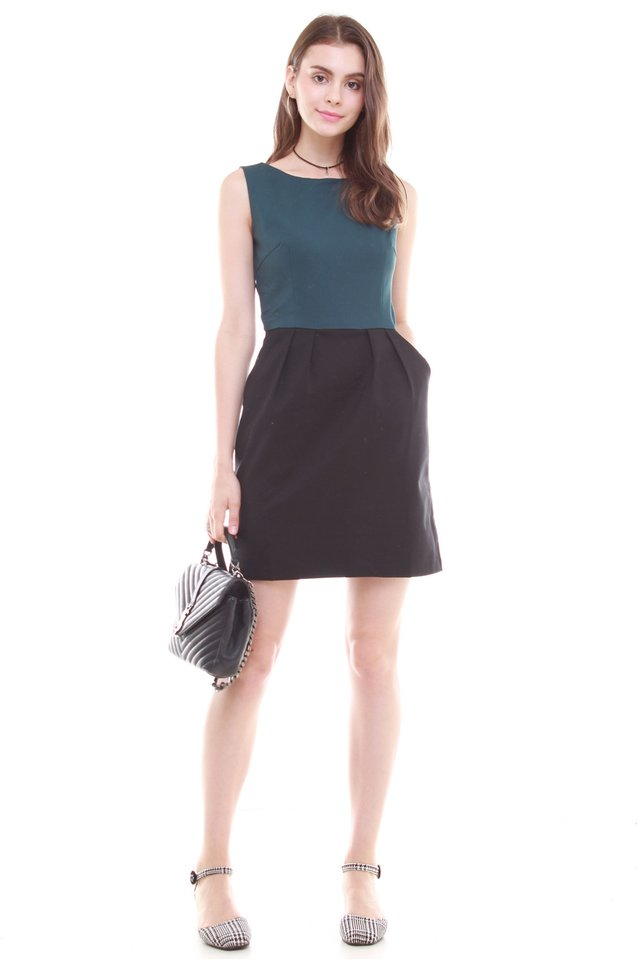 Colourblock Tulip Pocket Work Dress in Black-Emerald