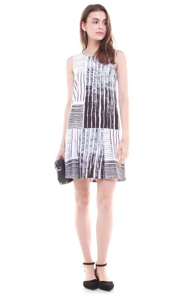 Abstract Printed Dropwaist Dress in Dark