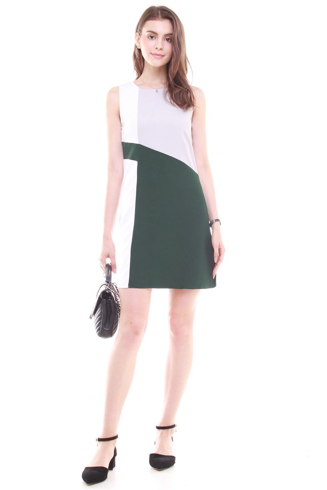 Diagonal Tri Colourblock Work Dress in Emerald