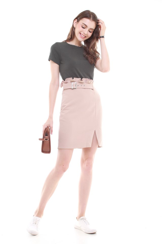 Paperbag Belted Pencil Skirt in Khaki