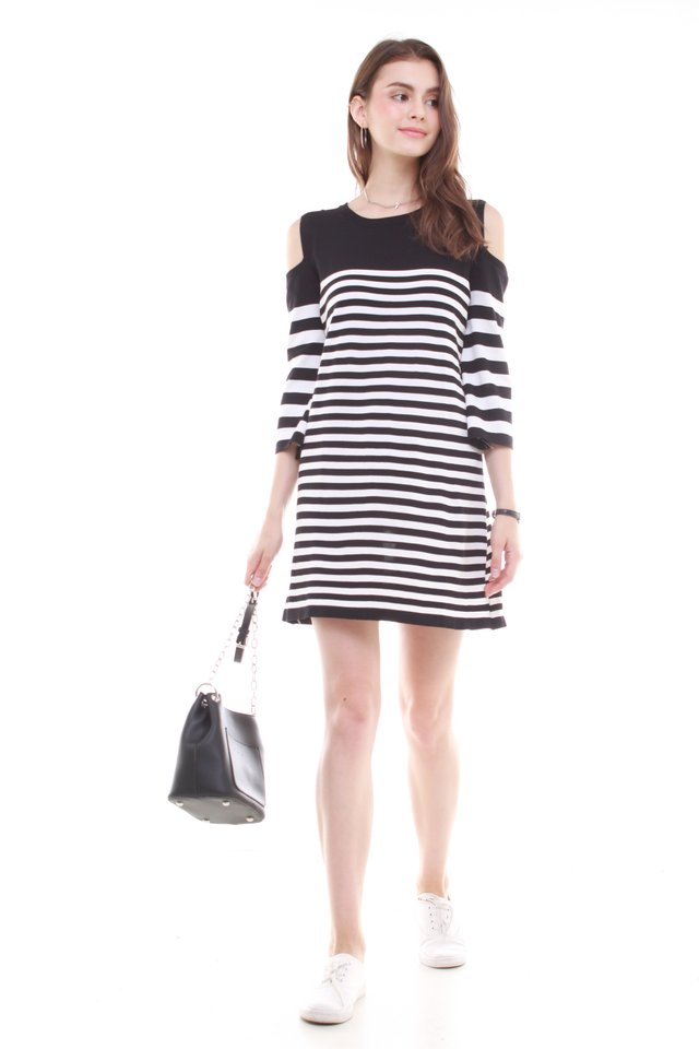 Monochrome Cold Shoulder Knit Dress