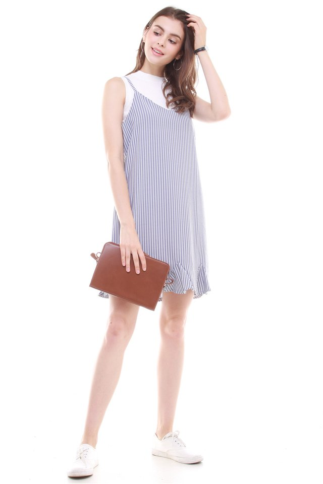 Pinstripes Flutter Hem Slip Dress
