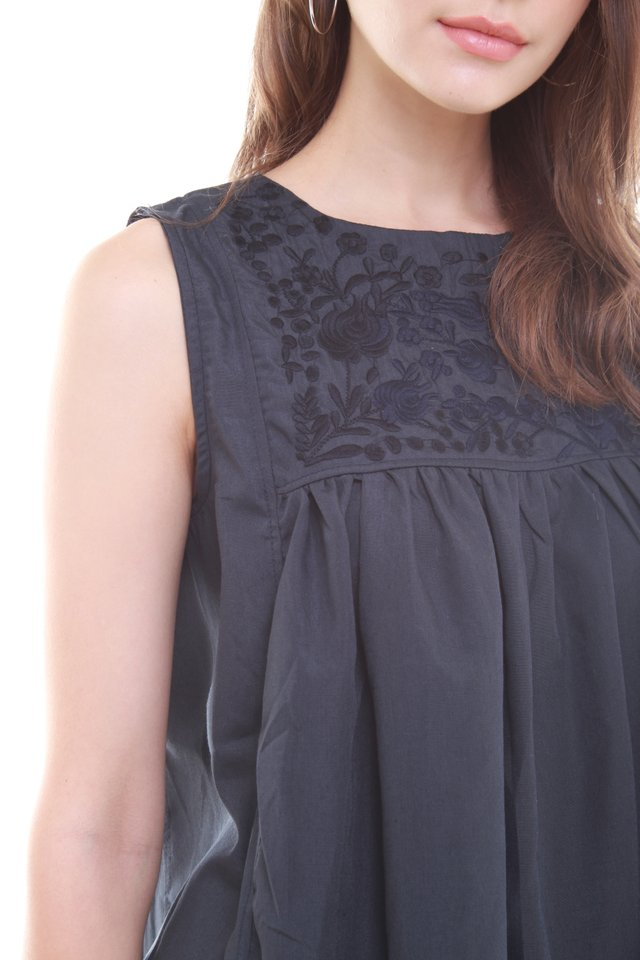 Stitched Embroidery Babydoll Top in Navy