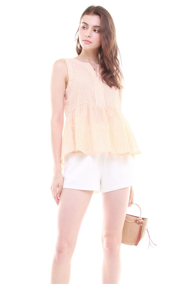 *BACK IN STOCK* ACW Gingham Peplum Top in Orange