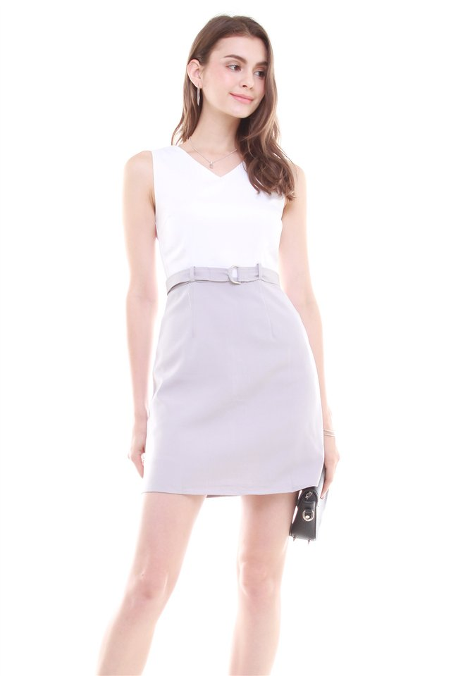 Belted Colourblock Work Dress in White-Grey