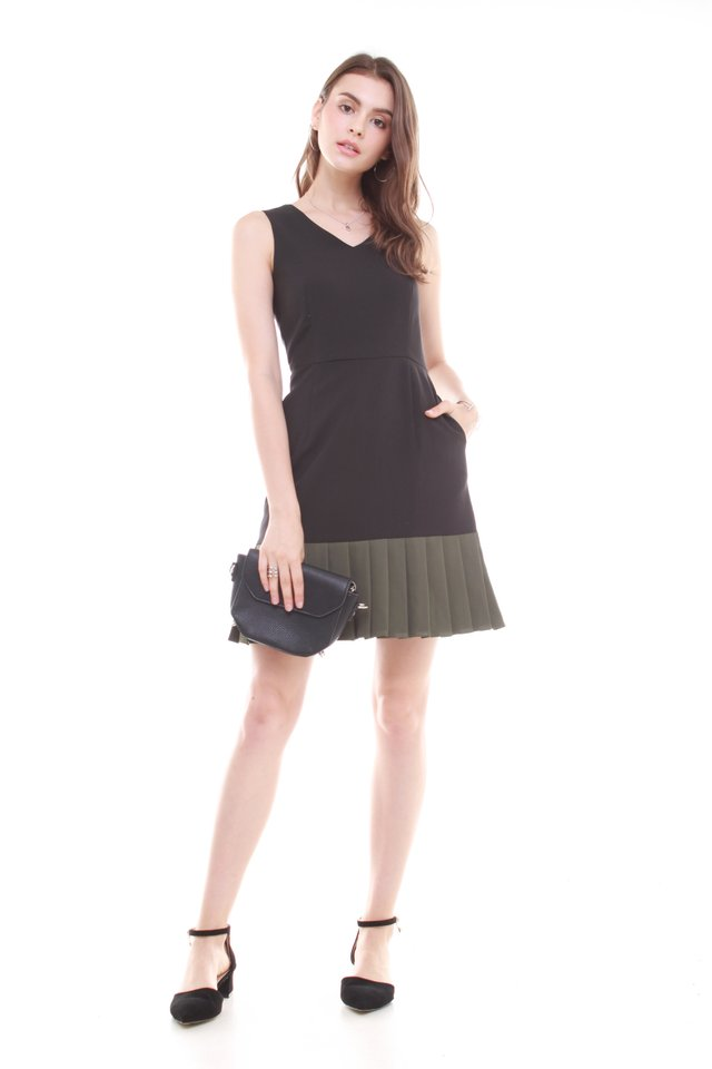 Pleated Hemline Fit and Flare Dress in Black-Olive