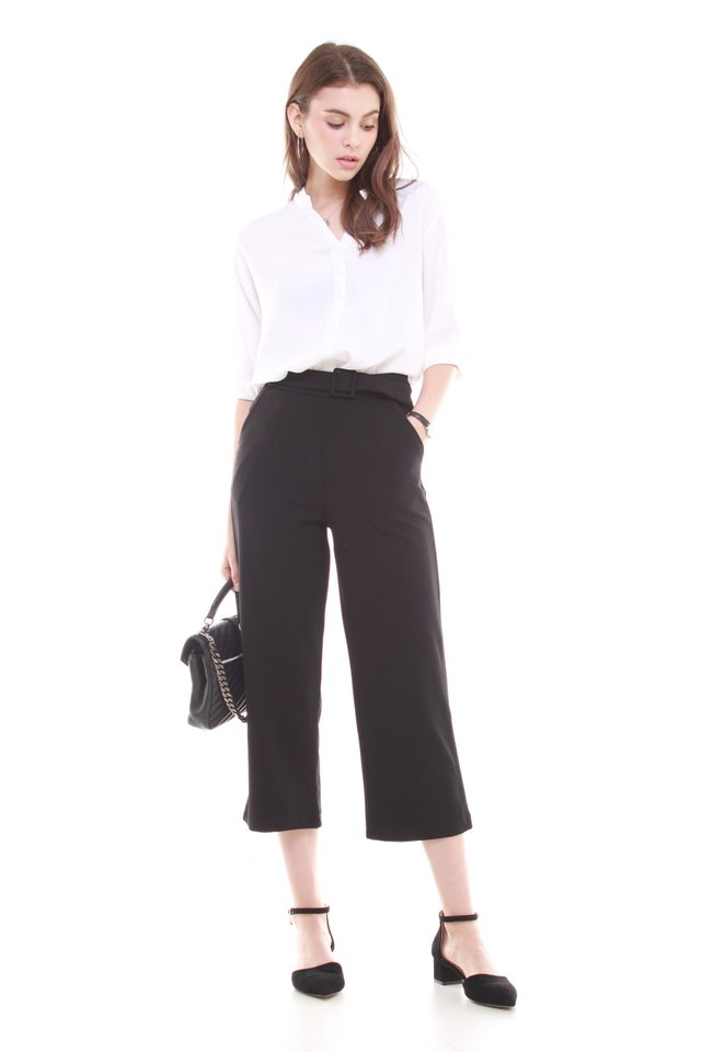 Belted Straight Cut Cropped Trousers in Black