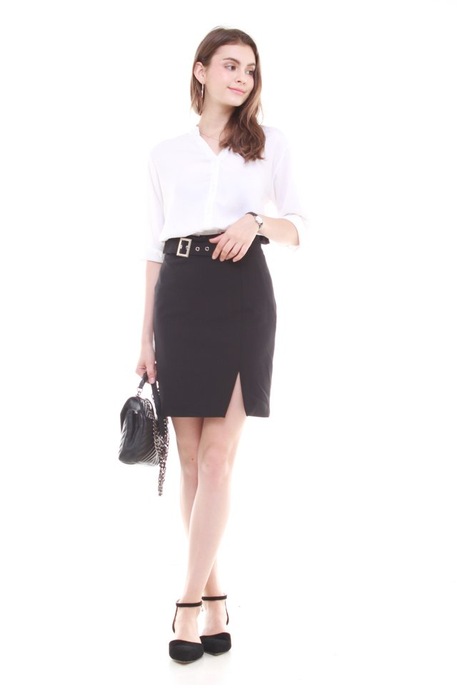 Paperbag Belted Pencil Skirt in Black