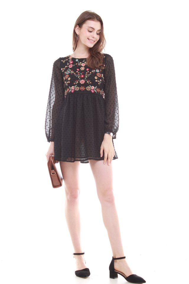 *Backorder* Embroidery Long Sleeve Babydoll Dress in Black