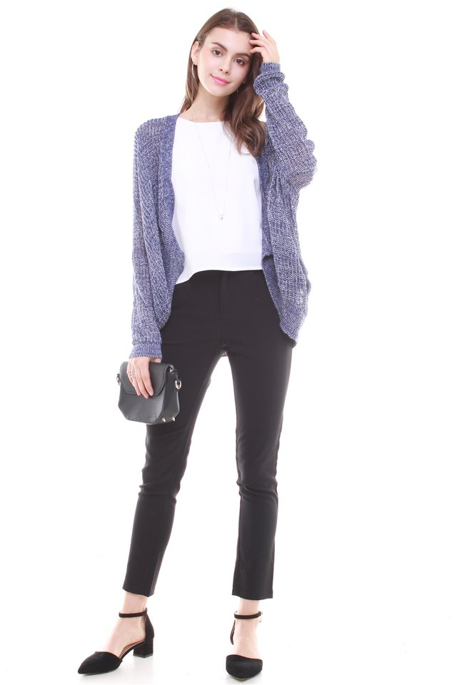 Oversized Slouchy Knit Cardigan in Blue
