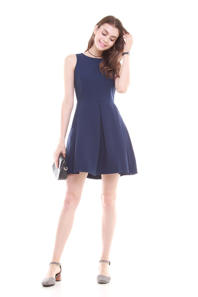 Box Pleat Work Dress in Navy
