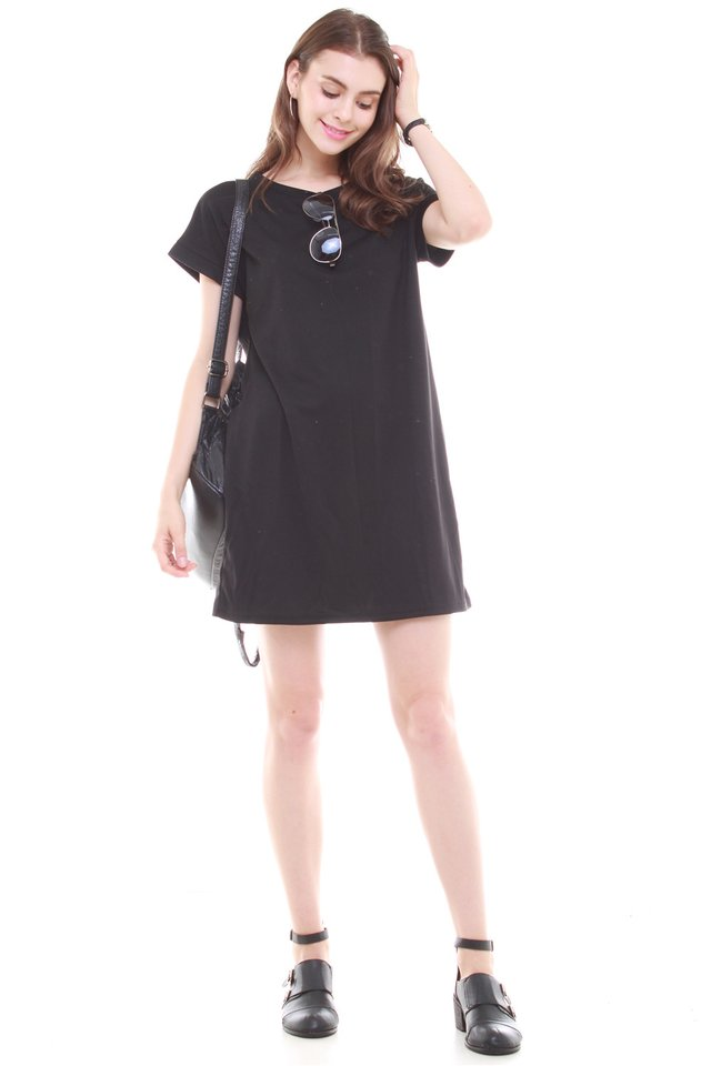 *BACK IN STOCK* ACW Structured Pocket Tee Dress in Black