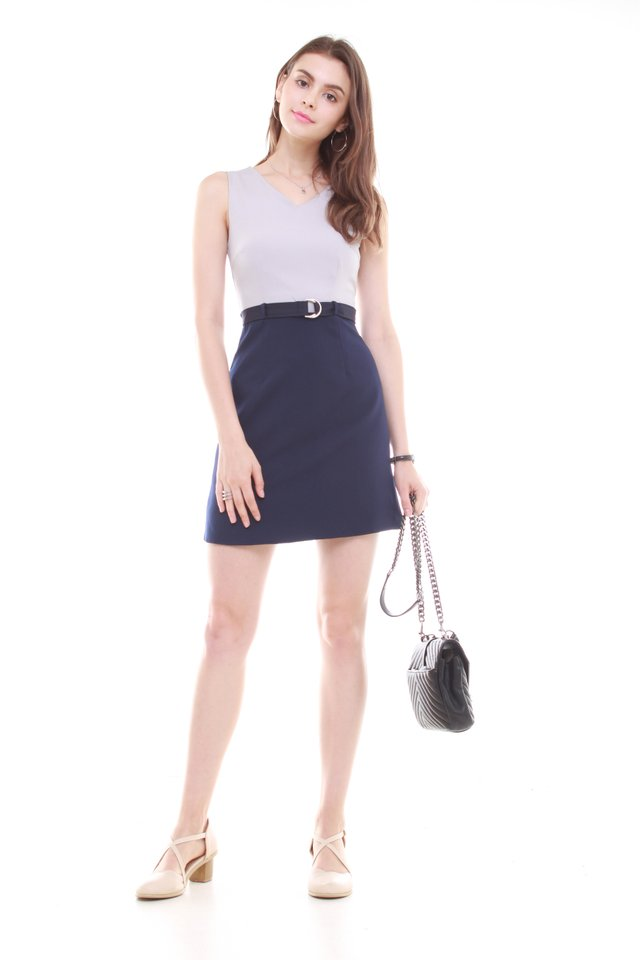 Belted Colourblock Work Dress in Grey-Navy