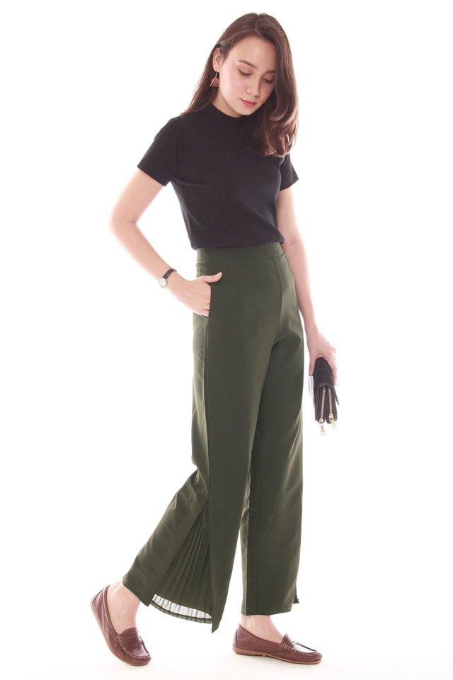 Side Pleat Pants in Olive