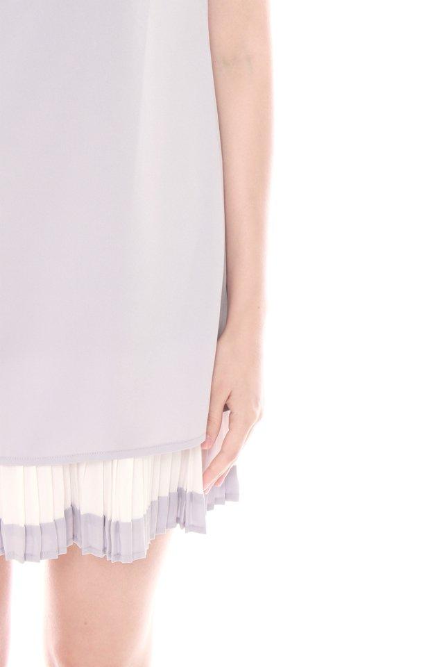 Sleeved Double Pleat Colourblock Shift Dress in Dusty Grey