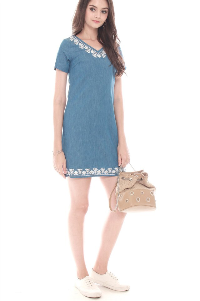 Denim Embroidery Casual Shift Dress