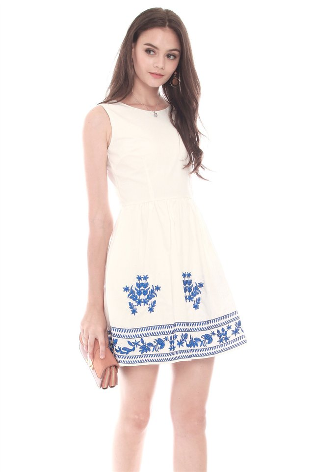 *BACK IN STOCK* Porcelain Embroidery Babydoll Flare Dress in White