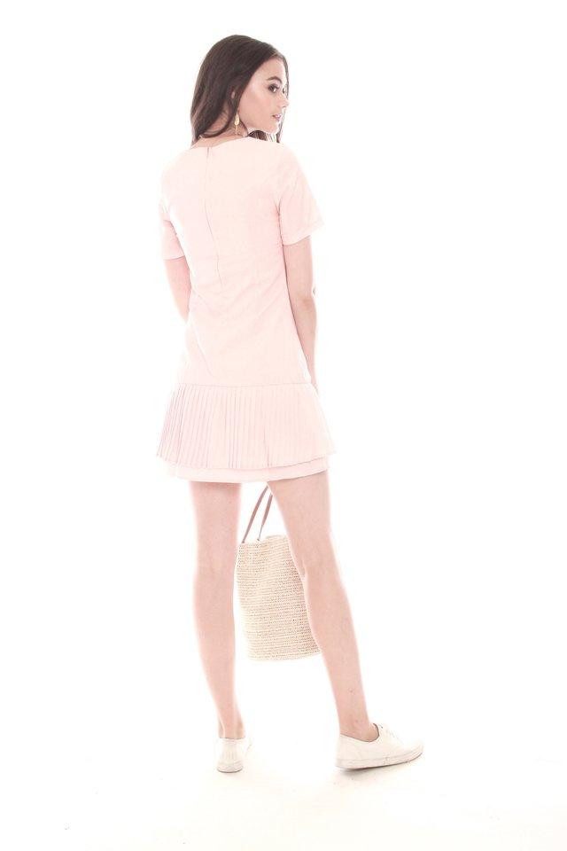 Double Pleated Hem Shift Dress in Peach