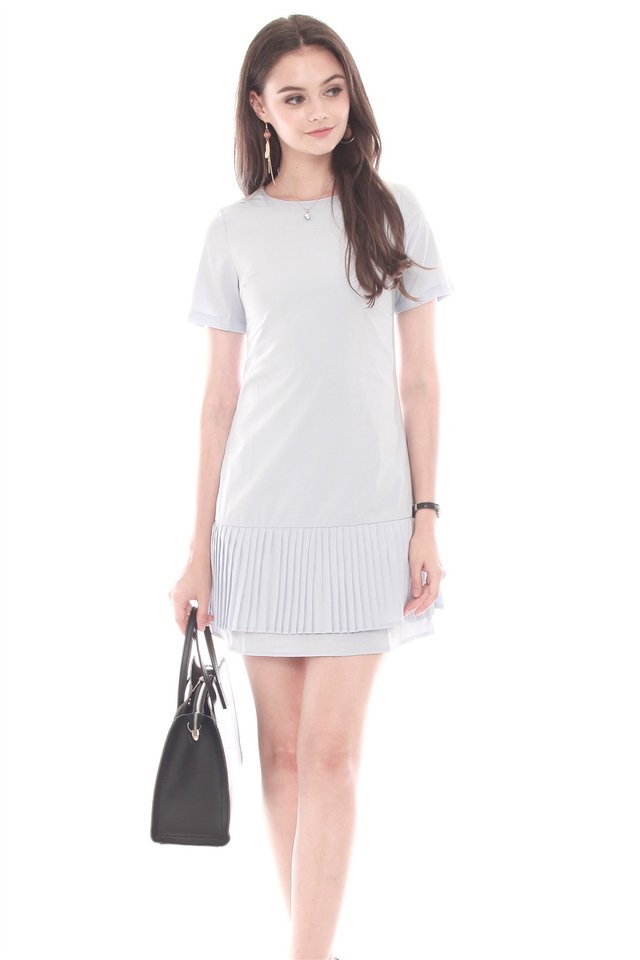 Double Pleated Hem Shift Dress in Light Grey