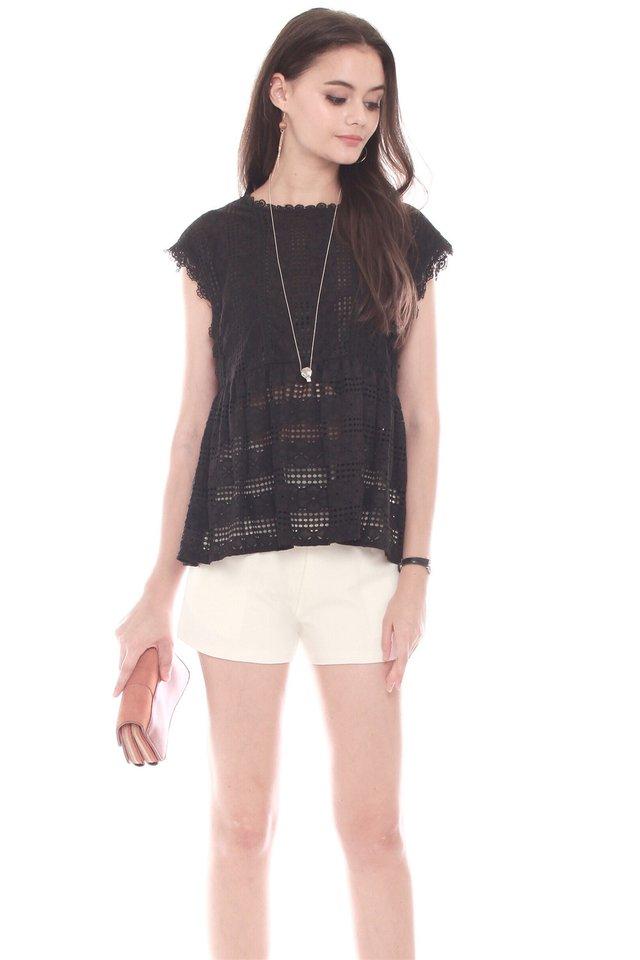 Lace Crochet Babydoll Top in Black