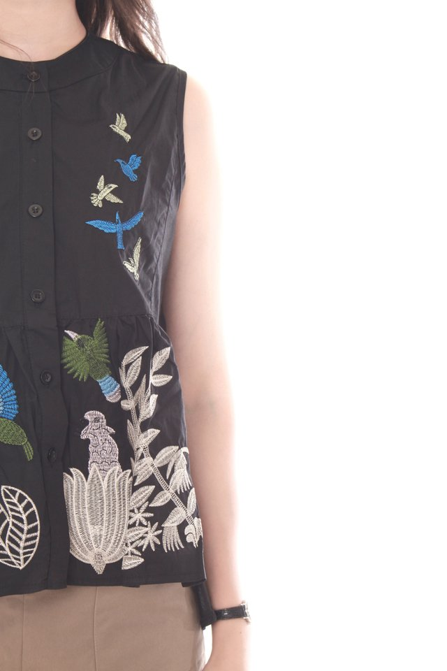 Blue Bell Embroidery Button Down Babydoll Top in Black