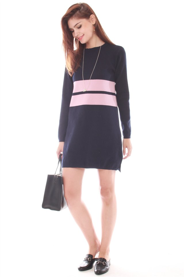 *Backorder* Oversized Double Striped Knit Dress in Navy