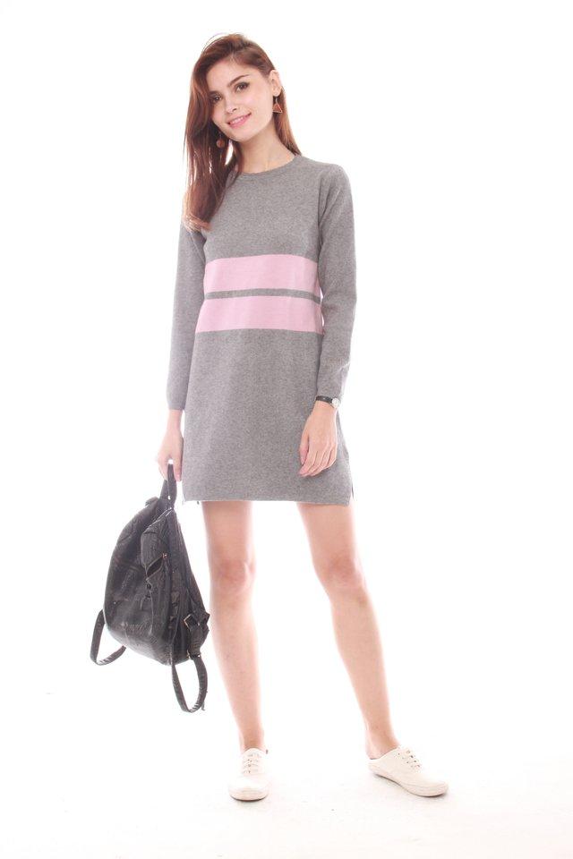 *Backorder* Oversized Double Striped Knit Dress in Light Grey