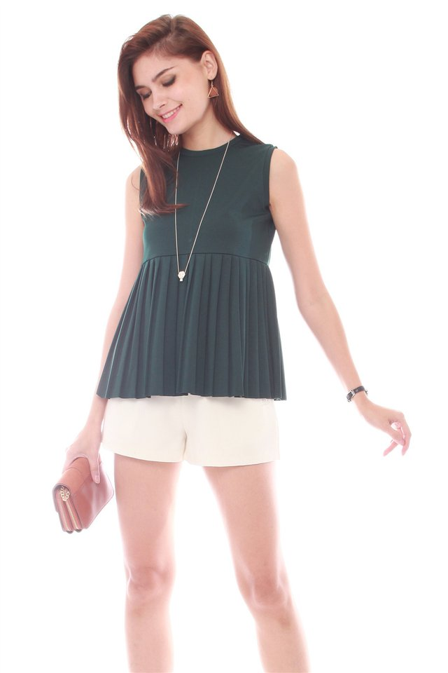 ACW Sleeveless Babydoll Knitted Top in Emerald