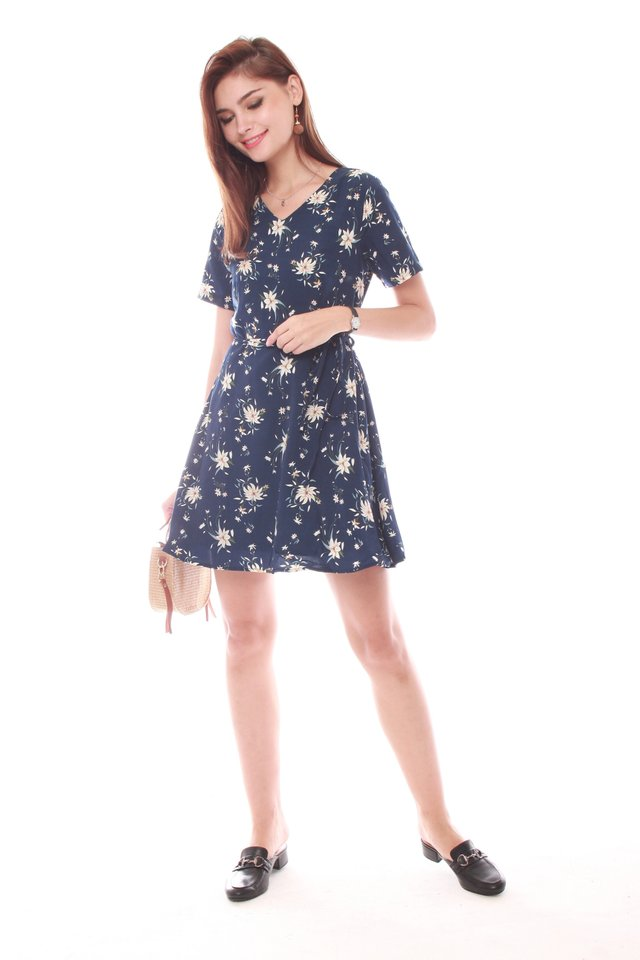 *Backorder* French Marigold Swing Dress in Navy