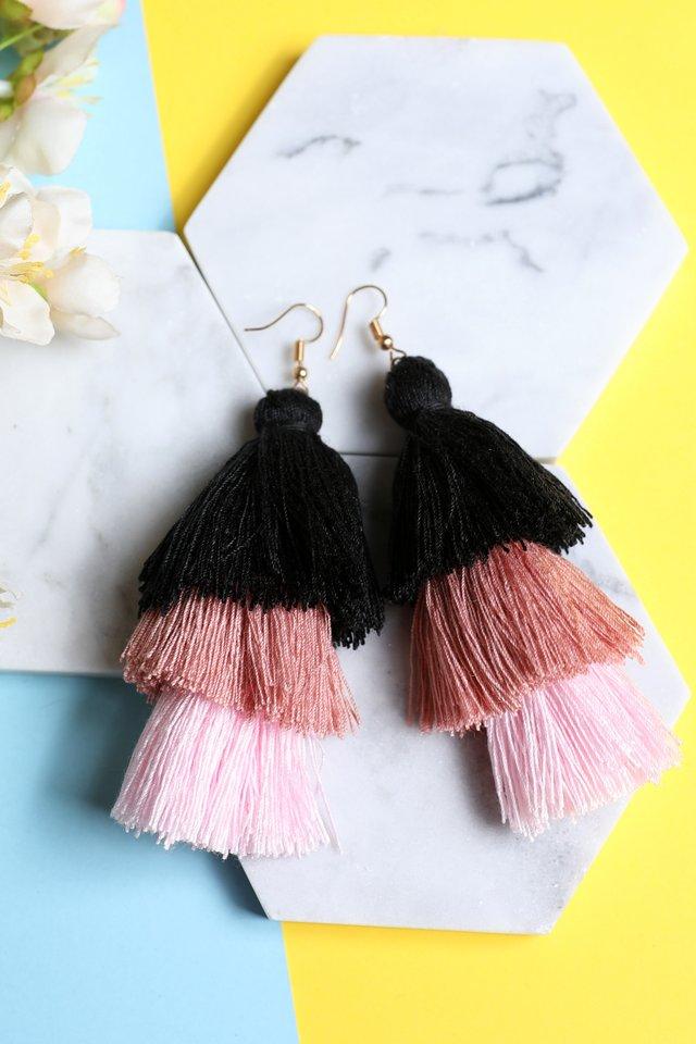 Tri Layered Tassel Earrings (Pink)