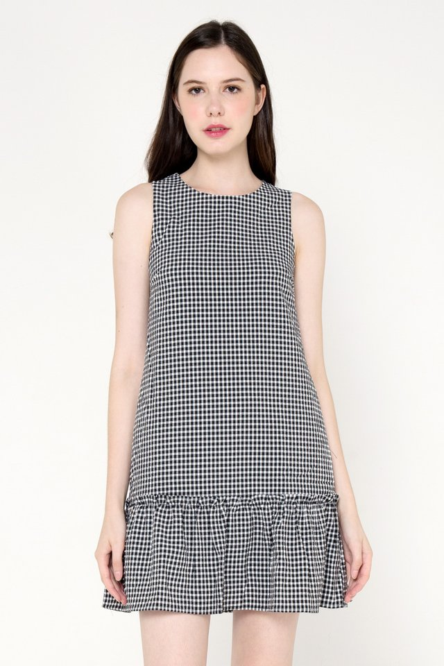 Burton Ruffle Hem Dress (Black Gingham)