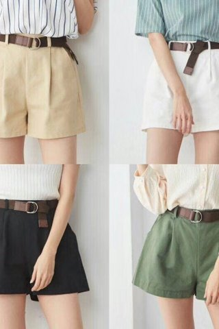 PLAIN WIDE-LEG SHORTS