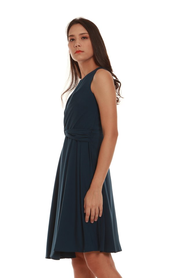 Madelyn Fit and Flare Twist Dress in Green